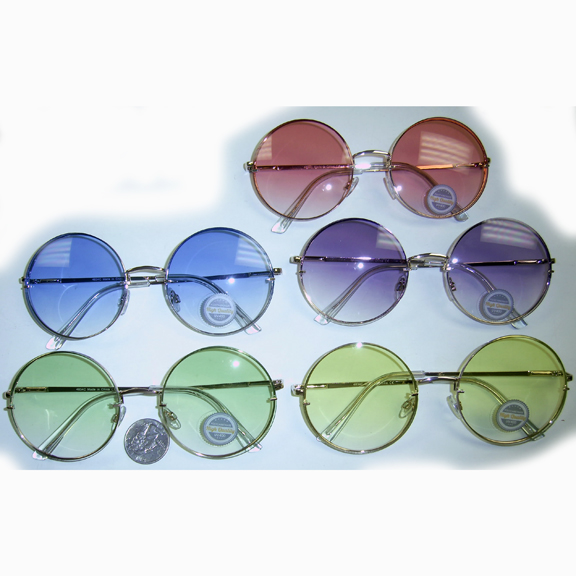 LARGE ROUND METAL FRAMES IN 5 DIFFERENT COLOR LENS SUNGLASSES